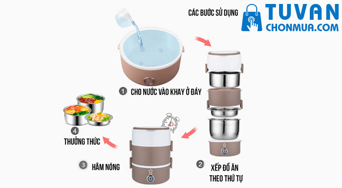 cách sử dụng hộp cơm cắm điện