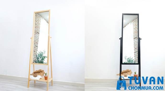 Gương soi toàn thân di động khung gỗ phối kệ