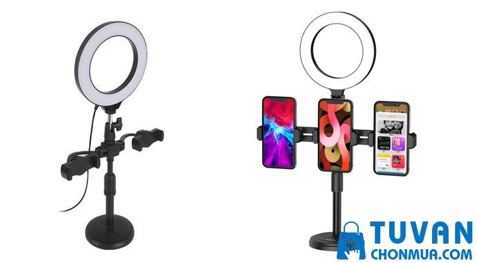 Đèn Livestream để bàn 16cm có gương make up